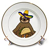 3dRose All Smiles Art Animals - Funny Sloth eating Taco Cartoon - 8 inch Porcelain Plate (cp_288115_1)