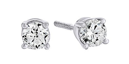 10K Solid Gold Natural Diamond Solitaire Stud Earrings With Screw Back 0.1 Ct