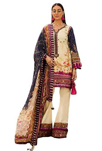 IshDeena Lawn & Chiffon Designer Dresses for Women Ready to Wear Pakistani Salwar Kameez (Small, Cream - Shanaya by - Cotton Off Salwar White Kameez