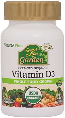 NaturesPlus Source of Life Garden Certified Organic Vitamin D3 - Cholecalciferol 5000 iu, 60 Vegan Capsules - Whole Food Plant-Based Supplement - Vegetarian, Gluten-Free - 30 Servings