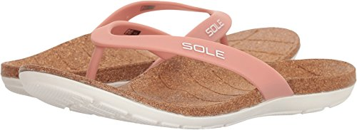 Sandals Sole Womens Flips (SOLE Beach Flips - Womens Orthotic Sandals Blush - 8)