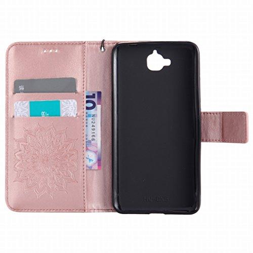 LEMORRY Huawei Y6 Pro / Honor Play 5X / Enjoy 5 Hülle Tasche Ledertasche Beutel Haut Schutz Magnetisch SchutzHülle Weich Silikon Cover Schale für Huawei Y6 Pro, Blühen Violett Rose Gold