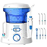 Nicefeel Electric Dental Water Flosser 600ml Capacity Queit Design(50db)Anti-leakage Professional Countertop Dental Oral Irrigator with 7 Multifunctional Tips for Adult and Kids