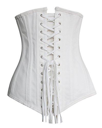 Charmian Women's Spiral Steel Boned Overbust Long Torso Body Shaper Corset Underbust Blanco