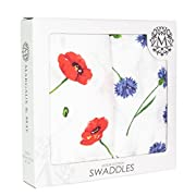 Ultra Soft Muslin Swaddle Blankets Poppy & Cornflowers by Margaux & May - 47 x 47 inch - Perfect Baby Shower Gift