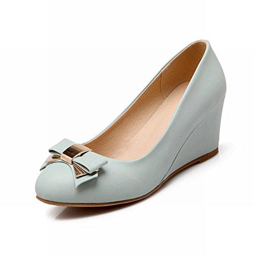 Carol Schoenen Sweet Womens Charming Bowknots Manchet Fashion Elegance Sleehak Jurk Pumps Schoenen Blauw