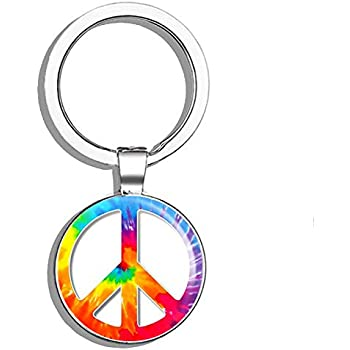 Amazon.com: Peace Sign Floral Cute Hippie Metal Round Metal ...