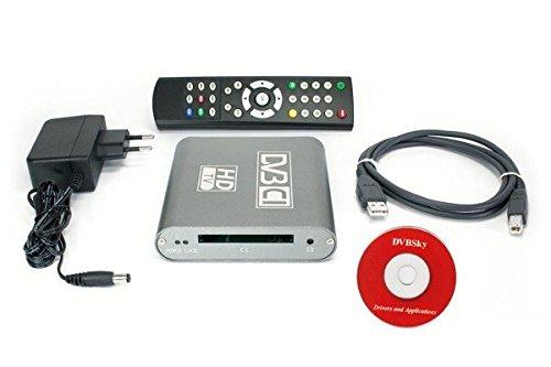 DVBSky S960C USB Box mit 1x DVB-S2 Tuner und CI Common Interface Slot für PayTV, keine CD stattdessen partitionierter USB Stick mit Windows Software inklusive bootfähigem Linux Media Center