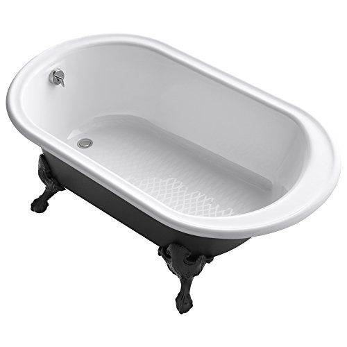 KOHLER K-710-P5-0 Iron Works Historic freestanding oval bath with reversible drain, Iron Black exterior & Safeguard finish, 66