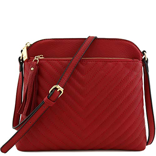 Chevron Quilted Medium Crossbody Bag with Tassel Accent Red]()