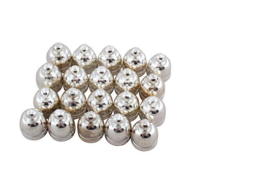 Pack Of 20 x Platinum Plated Brass 8 x 10mm Kumihimo Bell-Shape End Caps - (HA03314) - Charming - Bead Caps Plated Brass