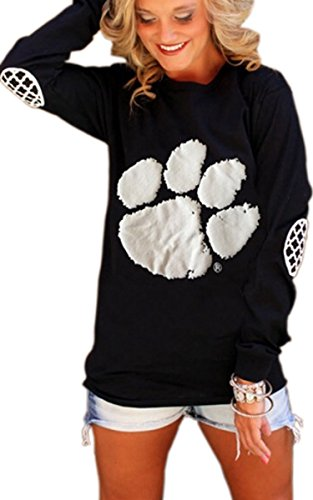 Angashion Women's Long Sleeve Dog Paw Prints Tops T-Shirt Blouse