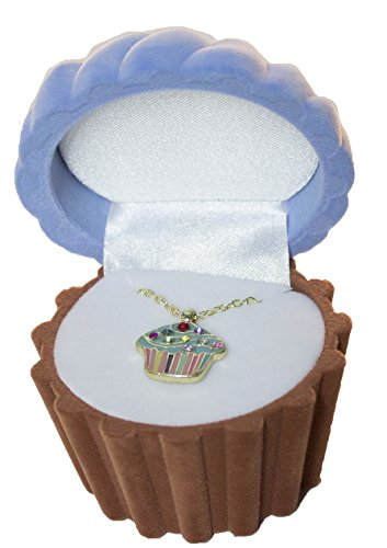 - DM Merchandising Cupcake Cuties Enamel Pendant Necklace in Figural Gift Box (Sold Individually) (Blue)