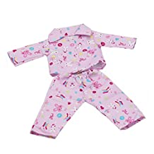 Dovewill Set of Fashionable Handmade Nightwear Pink Pajamas Suit FIT FOR 18 inch American Girl Journey Dolls Clothing Outfit