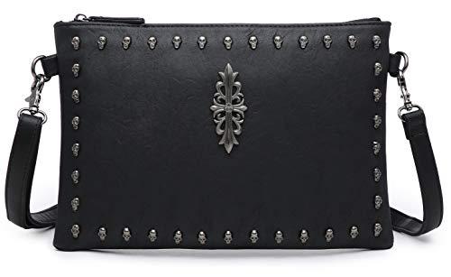 (Clutch Bag Skull studs Medium Crossbody Messenger Purse Handbag Synthetic Vegan Leather (small, black))