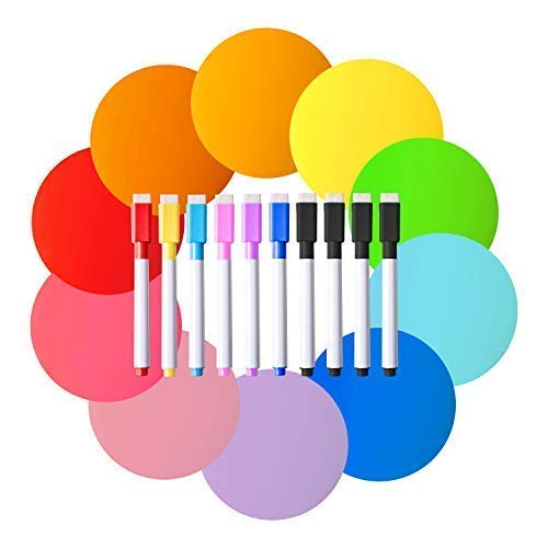 Easy Teach 20 Piece Colorful Dry Erase Circles, Removable Vinyl Dots for Organization and Decorations, Adhesive Classroom Decals for Teachers, Children, and Decor