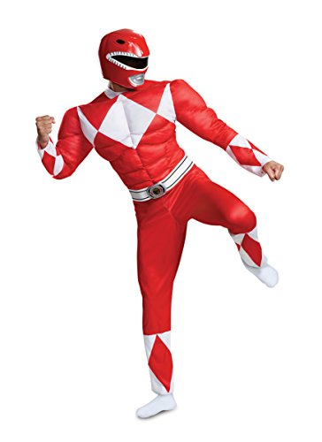 Disguise Men's Red Ranger Classic Muscle Adult Costume, L/XL (42-46)