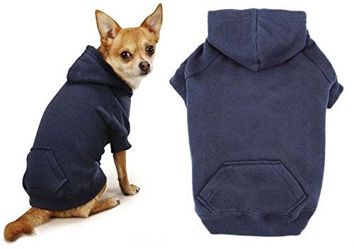 Navy Blue Dog Hoodies Cotton Blend Kangaroo Pocket Dogs Sweatshirt (Small)