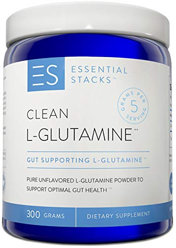 Essential Stacks Clean L-Glutamine – Designed for Optimal Gut Health – Pure Unflavored L-Glutamine Powder That Mixes Easily & Has No Odor