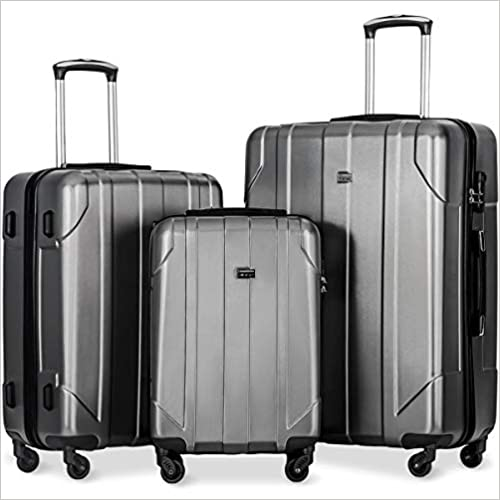Merax 3 Piece P.E.T Luggage Set Eco-friendly Light Weight Spinner Suitcase(Gray)