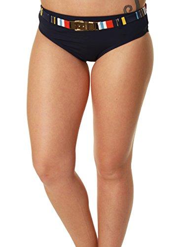 Captiva By Christina Women's Hipster Striped Belt Bikini Bottoms-Large Navy Blue