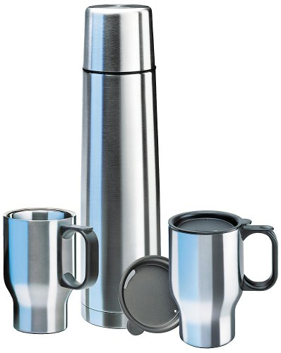 Isosteel-VA-9600B-Touring-Set-1x-09-L-Vacuum-Flask-188-Stainless-Steel-with-Quickstop-Single-Handed-Pouring