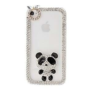JJEDIY Panda and Chain Frame with Rhinestone Pattern Plastic Hard Case for iPhone 4/4S