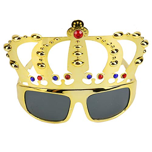 Monrocco Pack of 2 Crown Shape Birthday Party Glasses Novelty Sunglasses Eyewear Novelty Glasses Costume Glasses Props for Birthday Gift Party Favors -
