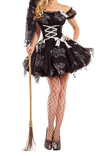7045# New Halloween Witch Party Costume,Black,M