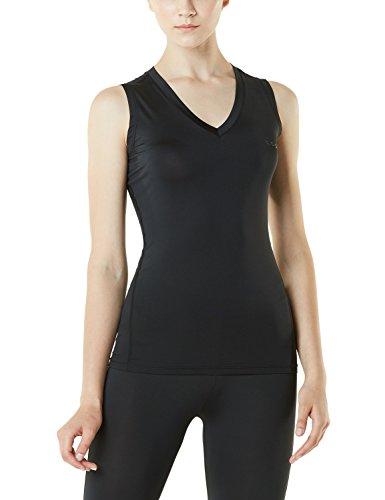 TSLA 1~2 Pack Women's Dri Racerback Workout Cool Fitness Tank Top Shirt, V Neck(fuv06) - Black, Medium