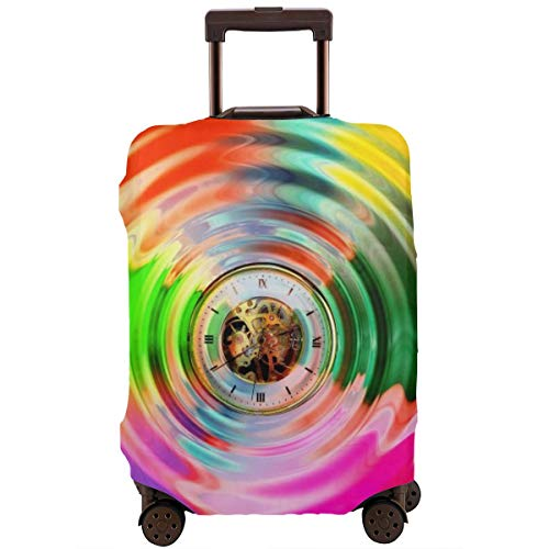 Travel Luggage Cover Baggage Suitcase Protective Washable Baggage Covers Fit For 18-32 Inch Luggage Circle Wave Clock Time Eternal