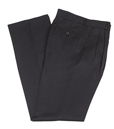 Mr. Leggs Wrinkle Resistant Washable Gabardine Men's Dress Pants, Pleated - Black 32 (Button Fly Gabardine Black Trousers)