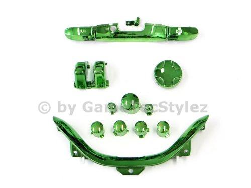 Xbox 360 Controller Mod Kit - ABXY Buttons, D-Pad, Guide Button, Start und Back Button, Bumper RB/LB, Trigger RT/LT, Bottom Trim - chrom grün