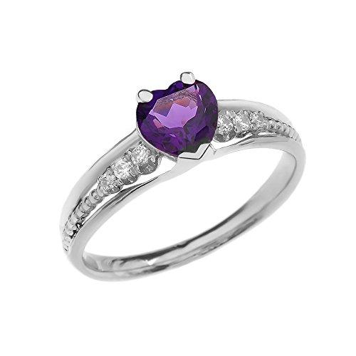 Dainty and Elegant Gold Rings 10k White Gold Diamond And February Birthstone Heart Beaded Promise Ring