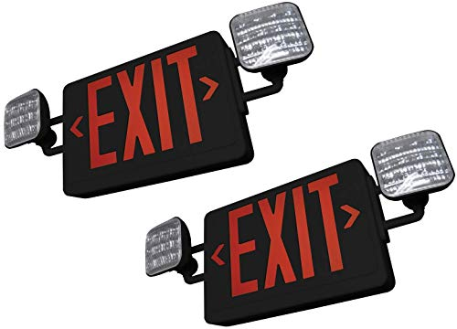 SupremeLED All LED Exit Sign & Emergency Light Combo with Battery Backup (Red Black 2 Pack)