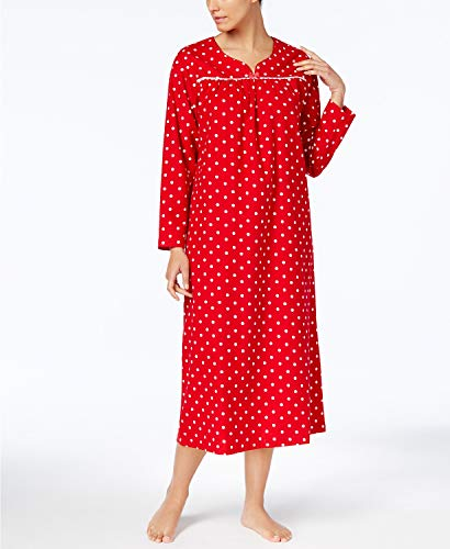 Charter Club Flannel Lace-Trim Nightgown, Candy Red Dot, M - Lace Trim Flannel Nightgown