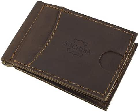 Rachiba Leather Bifold Mens Money Clip Wallet Thin Minimalist Front Pocket