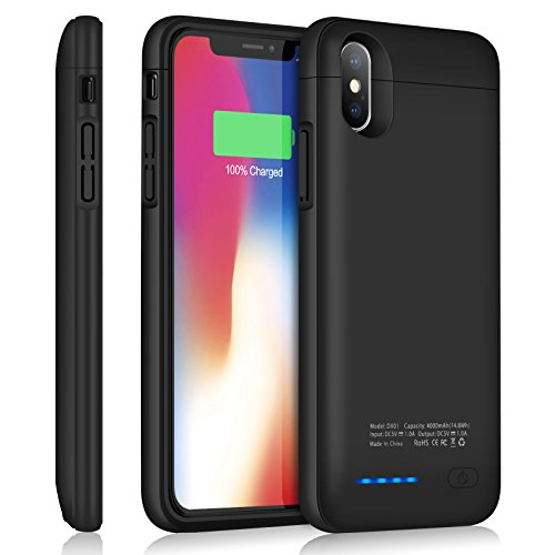 iPhone X Battery Case YISHDA Slim 4000mAh Rechargeable Extended Battery Charging Case for Apple iPhone X [5.8-Inch] Juice Pack Protective Power Case (Black)