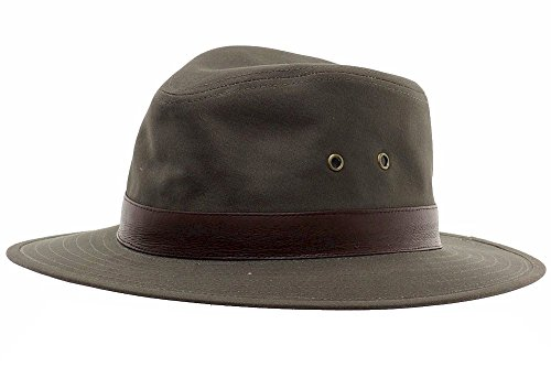 Henschel Men's Outback Crushable Cotton Canvas with Leather Band Hat, Olive, Medium