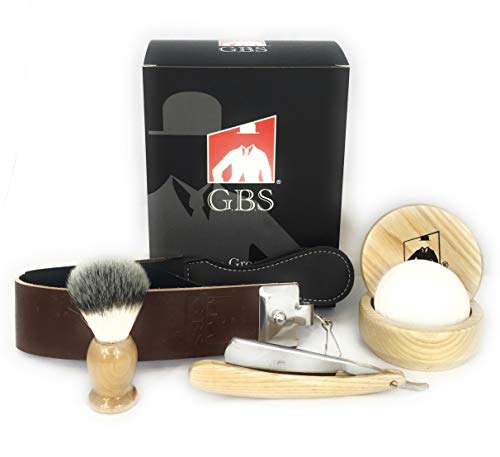 GBS Natural Wood Shaving Set with Straight Razor, Synethic Hair Shave Brush, Beechwood Shave Bowl, Honing Strop & 97% All Natural Soap - Animal Free!