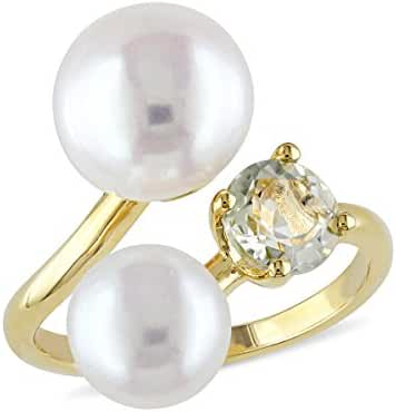 White Freshwater Cultured Pearl Ring with Green Amethyst In Yellow Plated Sterling Silver