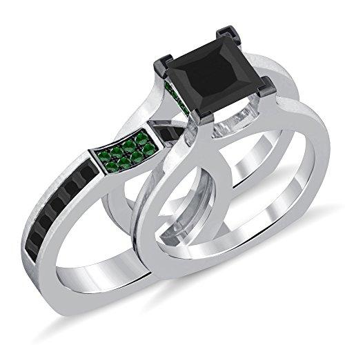 Silvergemking 14K White Gold Plated 2.35Ct Round & Princess Green Garnet Sim Diamond Women's Ring + Band ()