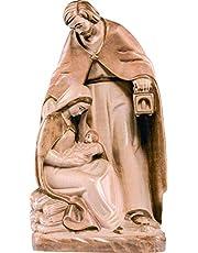 Ferrari & Arrighetti Figura de la Sagrada Familia en Talla de Madera Encerada para Nacimiento de 8 cm - Colección Belén Demetz Deur