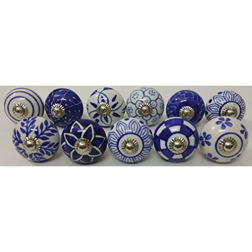 10 Blue And White Hand Painted Ceramic Knobs Cabinet Knobs Kitchen