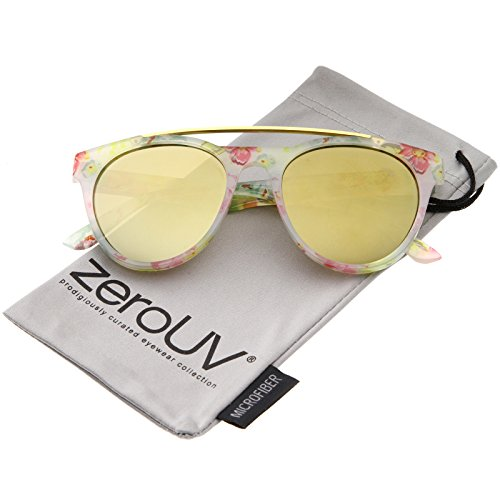 Women's Floral Metal Brow Bar Colored Mirror Lens P3 Round Sunglasses 50mm (White-Floral/Gold Mirror) ()