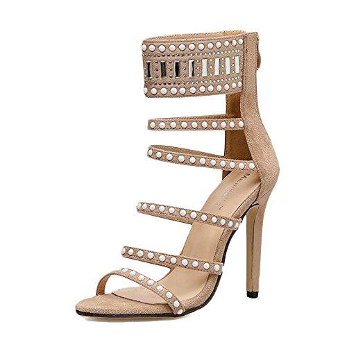 Tobillo Fina Marrón Toe De Peep para con Zapatos Correa Mujer Talon Tarde DE Sandalias Alto 5HR6v67n