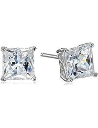 Timeless Platinum-Plated Sterling Silver and Swarovski Zirconia Princess Stud Earrings
