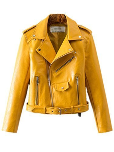 Women's Trendy Stand Collar PU Leather Moto Jacket Leather Coat,Yellow,Large ()
