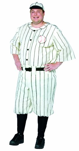 Rasta Imposta Plus-Size Old Tyme Baseball Player, White, XX-Large -