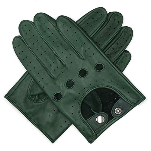 Harssidanzar Mens Leather Driving Gloves Unlined, Hunter Green, M
